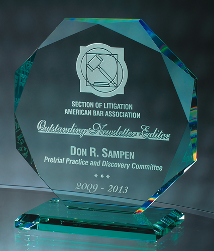 "7"" Jade Crystal Octagon Award"