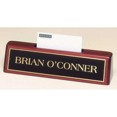 "8.25"" x2"" Rosewood Deskplate/Business Card Holder"