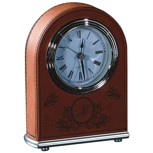 "5.5""H Rawhide Leatherette Desk Clock"