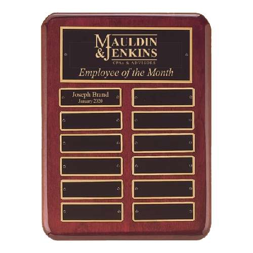 "9"" x 12"" Rosewood Finish Perpetual Plaque"
