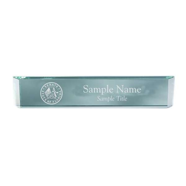 "12"" x 2"" Jade Crystal Desk Nameplate"