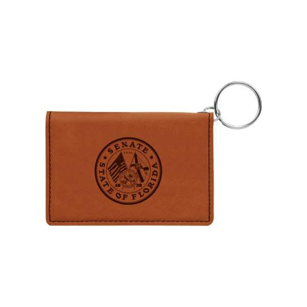 "4.375"" x 3"" Leather ID Holder w/ Keychain"
