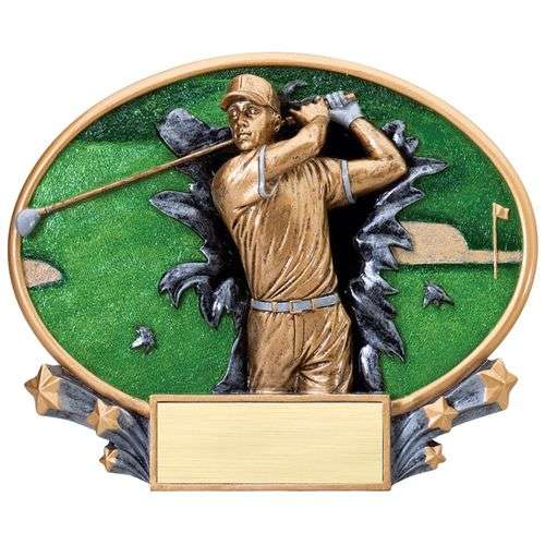 "7.25"" 3D Blast Thru Male Golf Trophy"