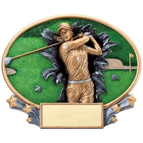 "7.25"" 3D Blast Thru Female Golf Trophy"