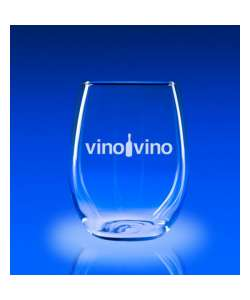 "4.75"" X 3.5""DIA Etched Stemless Wine Glasses - Set of  2"