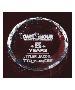 "3.125"" Faceted Optic Crystal Paperweight"