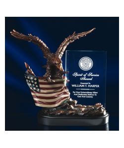 "10"" Bronze Eagle with Flag and Crystal Plaque"