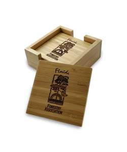 "4""x4"" Bamboo Coasters with Caddy"