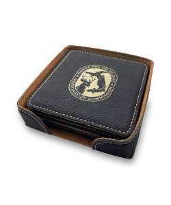 "4""x4"" Black Leatherette Coasters with holder"
