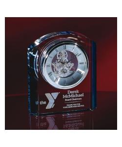 "6.75""H Crystal Clock with Blue Accent"