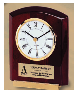 "5.875"" Piano Wood and Brass Clock"