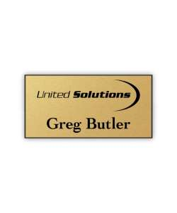 Color:   Gold/Black Laser Engraved Plastic Name Tag