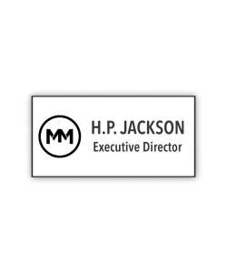 Color:   White/Black Laser Engraved Plastic Name Tag