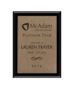 "6"" X 8"" Black Economy Finish Plaque with Light Brown Lasered Leatherette Plate"