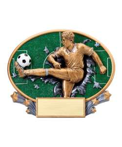 "7.25"" 3D Blast Thru Male Soccer Trophy"