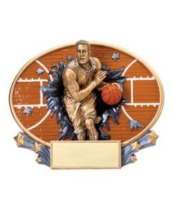 "7.25"" 3D Blast Thru Male Basketball Trophy"