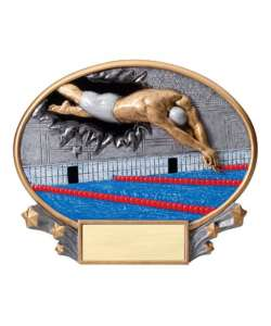 "7.25"" 3D Blast Thru Male Swimming Trophy"