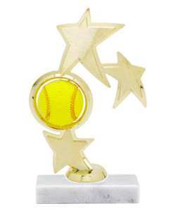 "9"" Triple Star Softball Trophy"