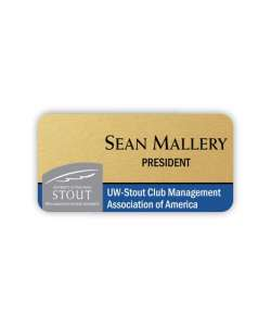 Color:  Gold Full Color Plastic Name Tag